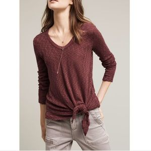 Anthro Left of Center Front Knot Plum Knit Top